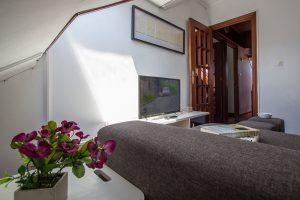 Vista del salón con TV y sofá cama